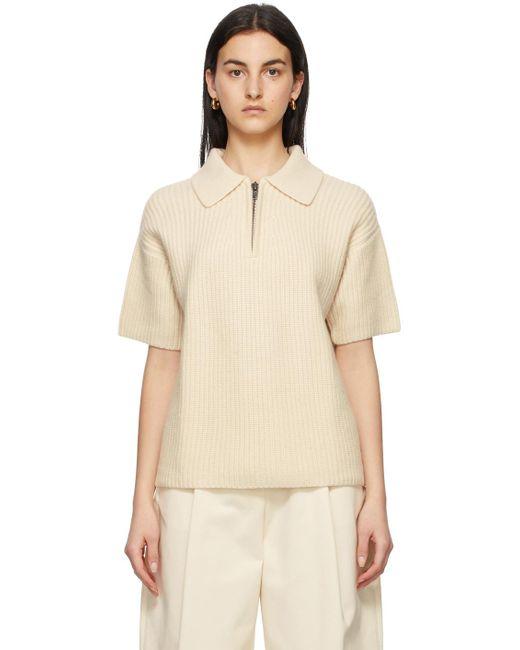 Loulou Studio オフホワイト カシミア Rusinga ポロシャツ White