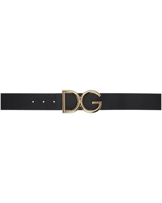 メンズ Dolce & Gabbana ブラック And ゴールド Dg ロゴ ベルト Black