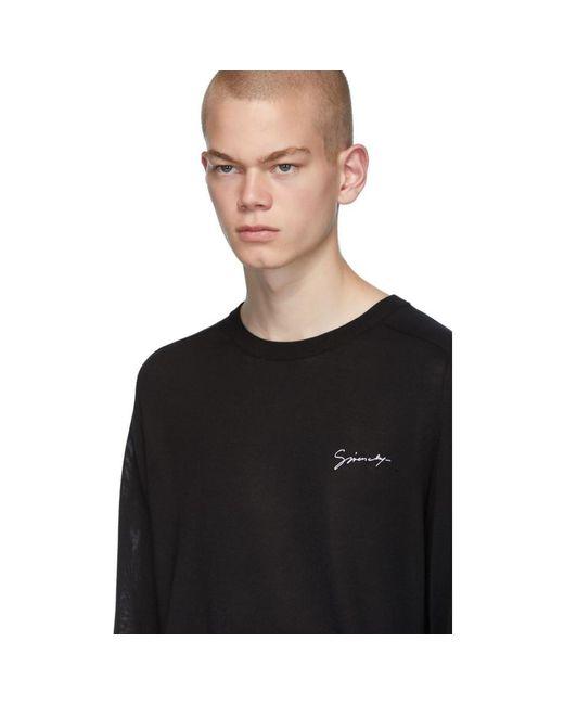 メンズ Givenchy ブラック シルク シグネチャ ロゴ T シャツ Black