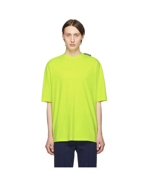 メンズ Balenciaga イエロー ロゴ タブ T シャツ Yellow