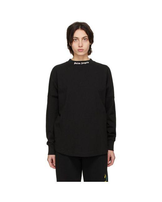 Palm Angels ブラック ロゴ ロング スリーブ T シャツ Black