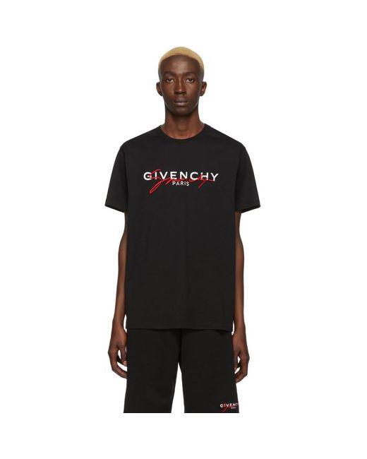 メンズ Givenchy ブラック シグネチャ プリント T シャツ Red