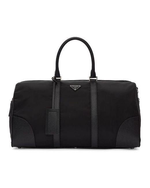 Prada - Black Nylon And Saffiano Duffle Bag for Men - Lyst