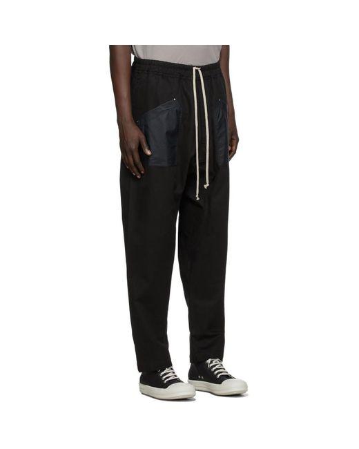 メンズ Rick Owens Drkshdw ブラック ロング ドローストリング カーゴ パンツ Black