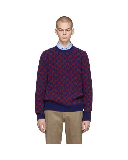 メンズ Gucci ブルー And レッド ウール セーター Blue