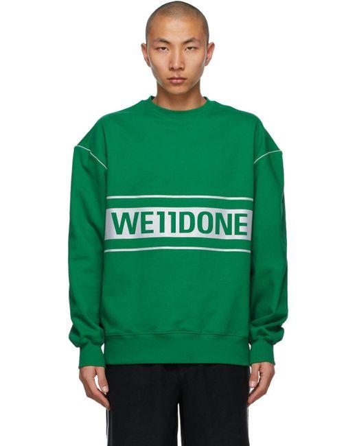 メンズ we11done グリーン ロゴ スウェットシャツ Green