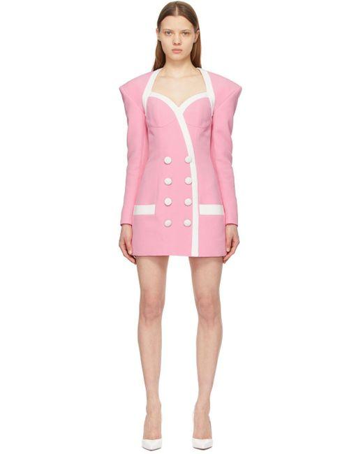 Balmain ピンク & ホワイト ショート ドレス Pink