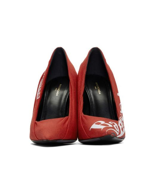 8776ffc2aeb Lyst - Balenciaga Red Campaign Logo Knife Heels in Red