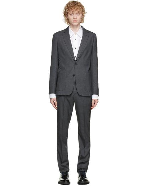 メンズ Paul Smith グレー ウール ウォッシャブル スーツ Gray
