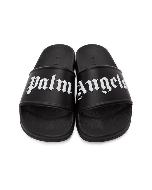 Palm Angels ブラック ロゴ スライド Black
