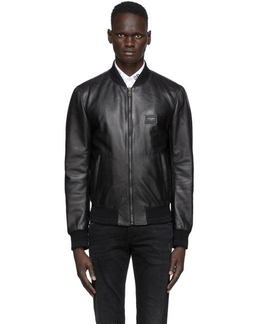 メンズ Dolce & Gabbana レザーボンバージャケット Black