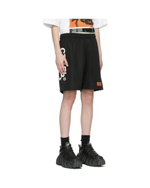 Heron Preston ブラック And ホワイト ロゴ バスケット ショーツ Black