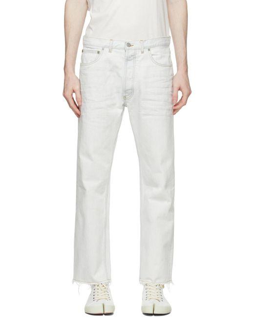 メンズ Maison Margiela オフホワイト ブリーチ ジーンズ White