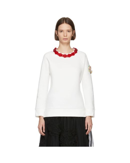Moncler Genius 4 Moncler Simone Rocha ホワイト ネックレス スウェットシャツ White
