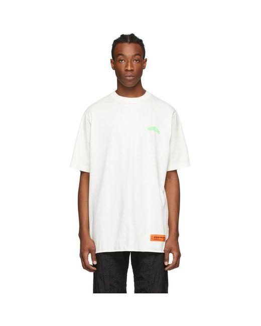 メンズ Heron Preston ホワイト And グリーン Style ロゴ T シャツ White