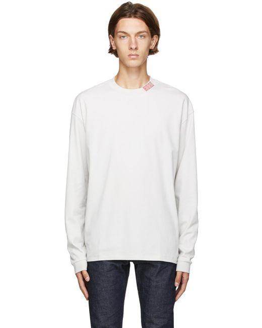 メンズ HUGO オフホワイト Dotch ロング スリーブ T シャツ Natural