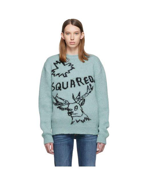 DSquared² ブルー ロゴ レインディア セーター Blue