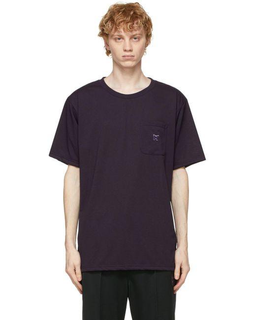 メンズ Needles パープル ロゴ T シャツ Purple