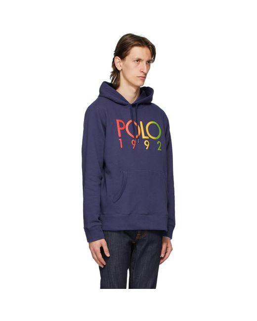 メンズ Polo Ralph Lauren ネイビー フリース ロゴ フーディ Blue