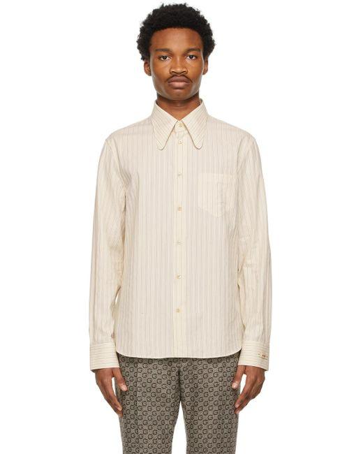 メンズ Gucci ベージュ & ブルー ストライプ Washed シャツ Natural