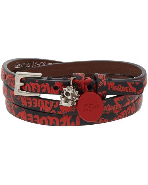Bracelet double-tour noir et rouge Graffiti Alexander McQueen pour homme en coloris Red