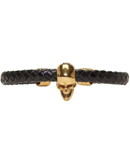 Alexander McQueen   Black And Gold Braided Leather Skull Bracelet   Lyst