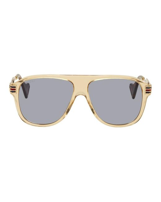 メンズ Gucci ブラウン ビンテージ 70s パイロット サングラス Brown