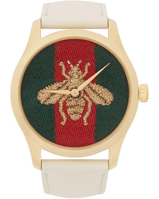 Gucci ゴールド & ホワイト レザー Bee G-timeless ウォッチ Metallic