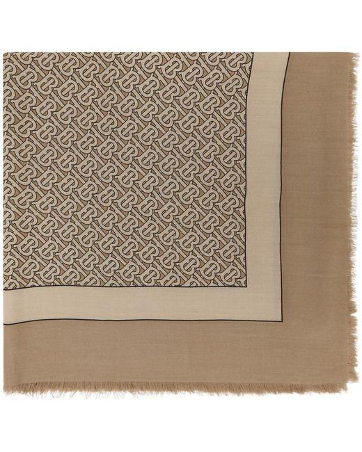 Burberry タン カシミア モノグラム スカーフ Brown