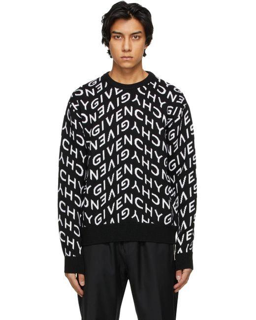 メンズ Givenchy ブラック & ホワイト Refracted ロゴ セーター Black