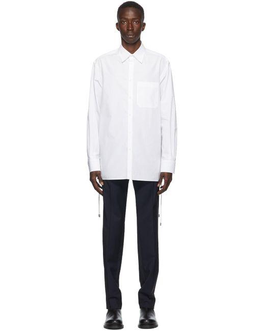 メンズ Valentino ホワイト コード ウィーブ ロング スリーブ シャツ White
