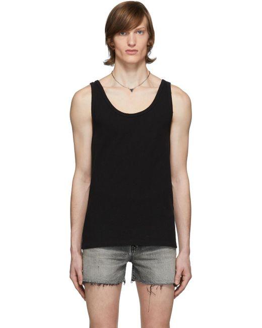 メンズ Saint Laurent ブラック ディストレス タンク トップ Black