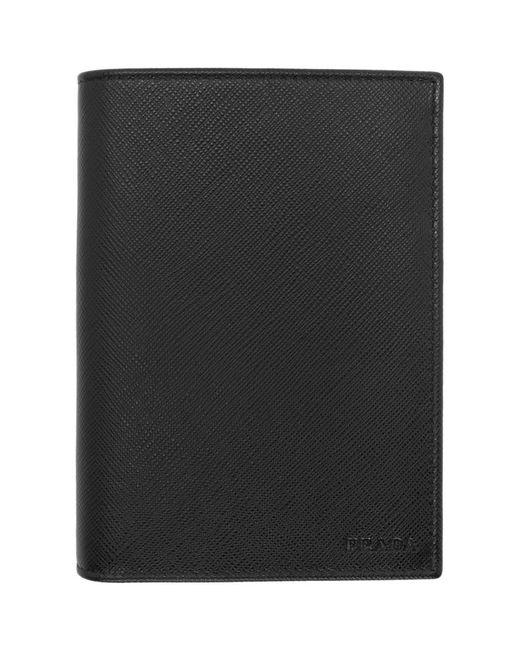 Prada - Black Leather Passport Holder for Men - Lyst
