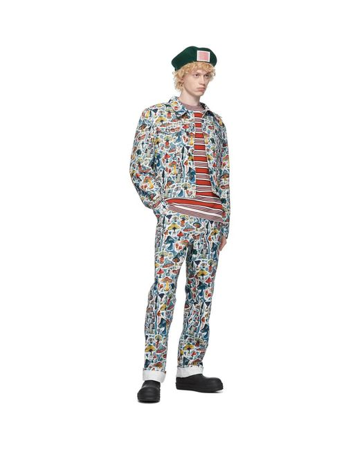 メンズ CHARLES JEFFREY LOVERBOY マルチカラー デニム Shrooms Art ジャケット Blue