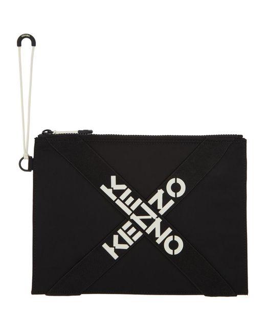 KENZO ブラック ラージ スポーツ ロゴ ポーチ Black