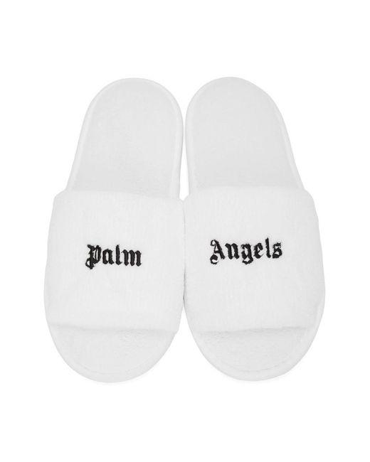 メンズ Palm Angels ホワイト And ブラック ロゴ スリッパ White