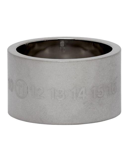 メンズ Maison Margiela シルバー ブラッシュ Chunky Numbers リング Metallic