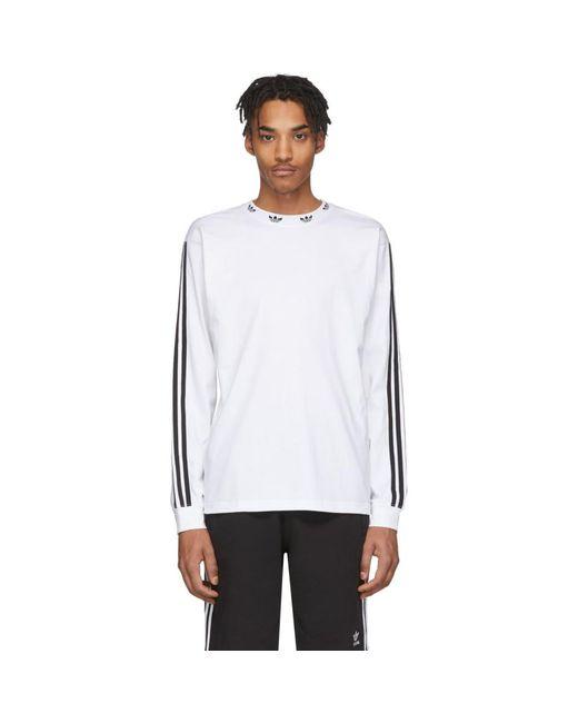 メンズ Adidas Originals ホワイト トレフォイル ロング スリーブ T シャツ White