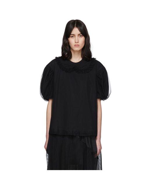 Simone Rocha ブラック チュール カラー T シャツ Black