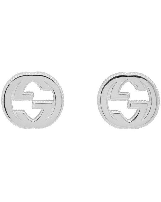 Gucci シルバー & ホワイト Interlocking G スタッド ピアス Metallic