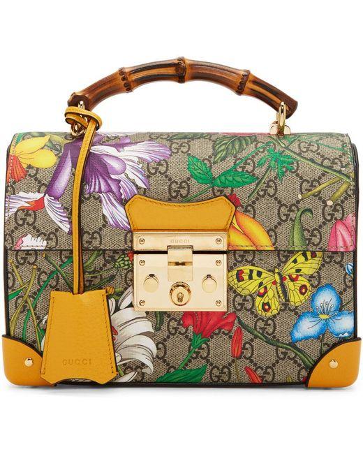 Gucci マルチカラー スモール GG フローラ バンブー パドロック バッグ Multicolor