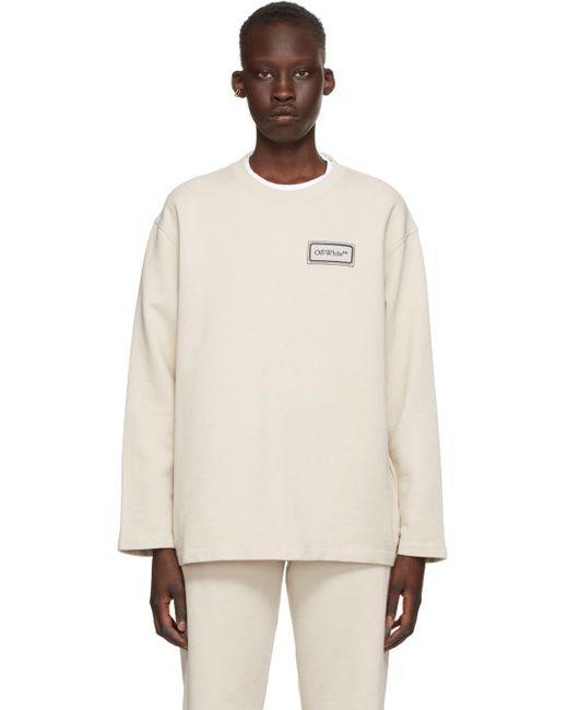 Off-White c/o Virgil Abloh ベージュ ロゴ パッチ スウェットシャツ Gray