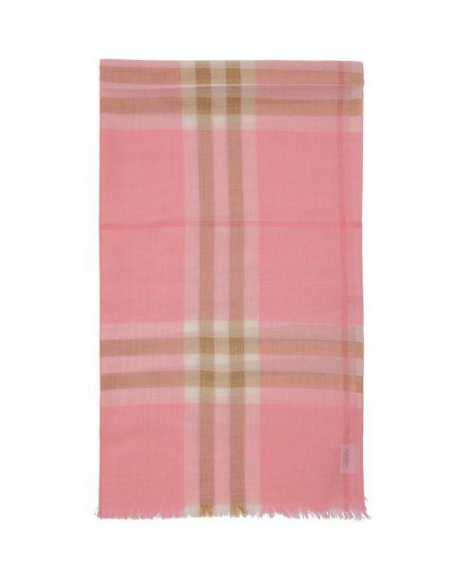 Burberry ピンク ガーゼ ジャイアント チェック スカーフ Pink