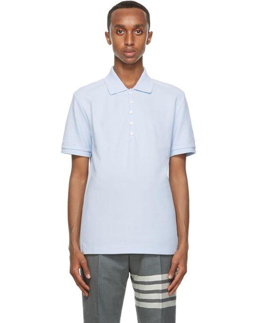 メンズ Thom Browne ブルー サイド 4bar ポロシャツ Blue