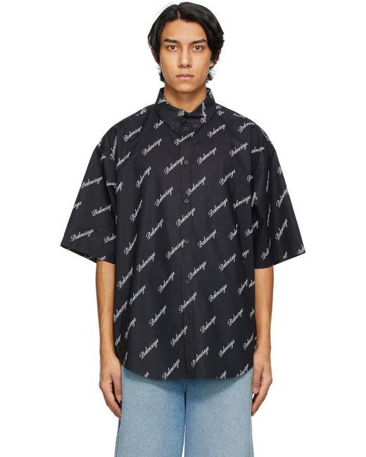 メンズ Balenciaga ブラック Script ロゴ ショート スリーブ シャツ Black