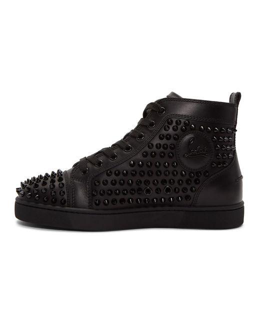 Baskets montantes noires Louis Spikes Christian Louboutin pour homme en coloris Black