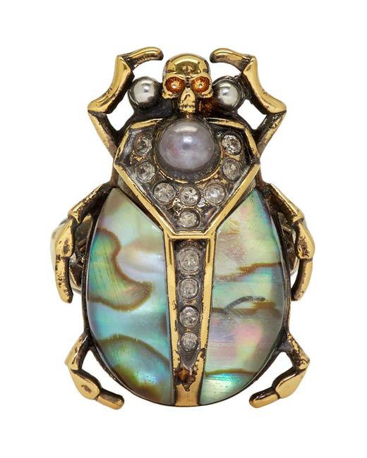 Bague doree Beetle Alexander McQueen en coloris Metallic