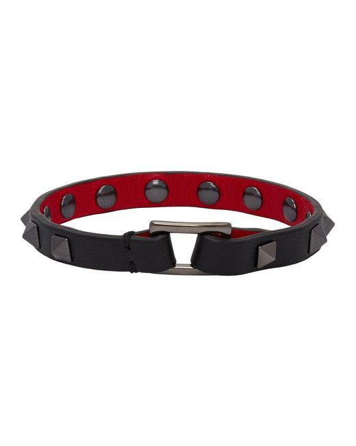メンズ Valentino Garavani コレクション ブラック ロックスタッズ ブレスレット Red