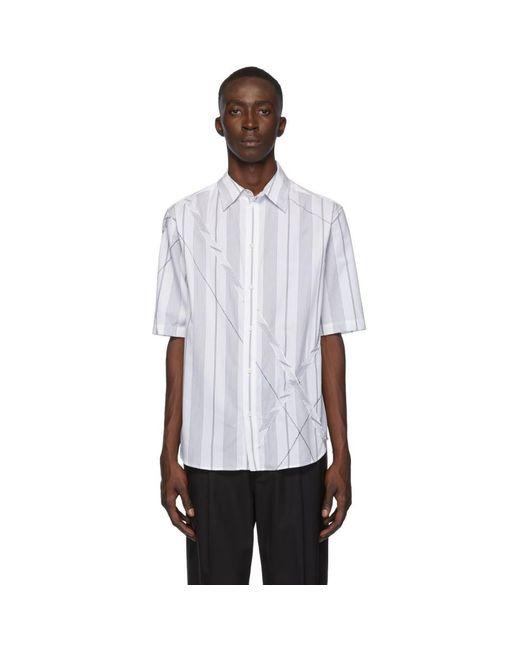 メンズ 3.1 Phillip Lim ホワイト And ブラック アーガイル パッチワーク シャツ White