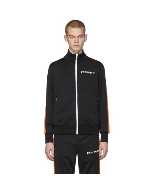 Palm Angels Black Classic Rainbow Track Jacket for men